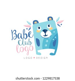 Babe club logo design, emblem with cute bear can be used for kids education center, baby shop, kids market, kindergarten and any other children projects vector Illustration