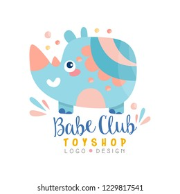 Babe club toyshop logo design, badge with cute rhino can be used for baby store, kids market vector Illustration on a white background