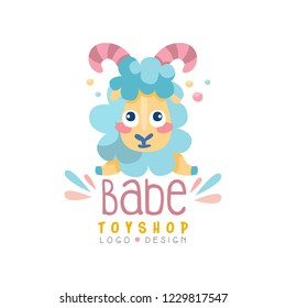 Babe toyship logo design, cute badge can be used for baby store, kids market vector Illustration on a white background