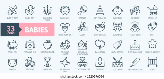 Babies, baby toys, feeding and care elements - thin line web icon set. Outline icons collection. Simple vector illustration.
