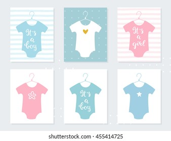 Babies Bodysuits Clothes on Hangers. Baby Announcement Vector Cards. It's a Boy. It's a Girl. Hand Lettering
