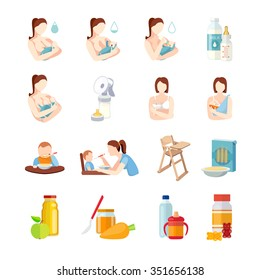 Babies breastfeeding positions and toddlers milk formula feeding with spoon flat icons set abstract isolated vector illustration
