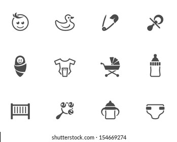 Babies icons in black & white