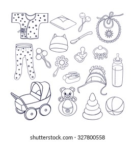 Babies icons,bottle with a soother,spoon,pacifier,rattles,roly-poly bear,pyramid,stroller, romper suit,baby's loose jacket,bib,coif with frill,cap with ears,booties on the feet,diaper.Sketch style.