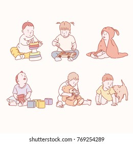 babies playing various games. hand drawn style vector doodle design illustrations.