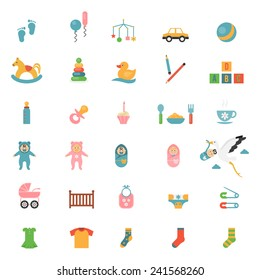Babies toys icons on a theme of infants and their accessories. Vector illustration
