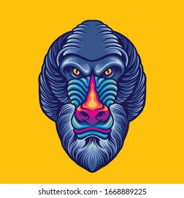 baboon head mascot logo design