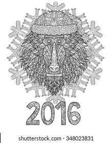 Baboon head in zentangle style. African monkey with ornament for cover, poster or t-shirt. Antistress coloring page for adults. Symbol of the 2016 year. Christmas design. Vector illustration