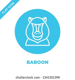 baboon icon vector from animal head collection. Thin line baboon outline icon vector  illustration. Linear symbol for use on web and mobile apps, logo, print media.