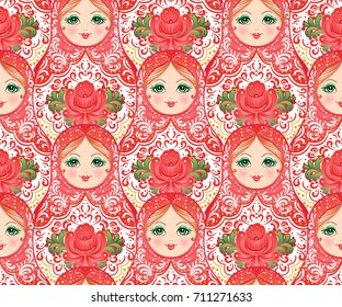 Babushka (matryoshka) seamless pattern. Traditional Russian wooden nesting doll with painted flowers. Folk arts and crafts. Vector illustration in cartoon style isolated on white. Souvenir from Russia