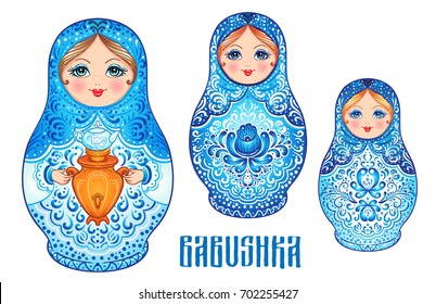 Babushka (matryoshka), traditional Russian wooden nesting doll decorated with painted flowers. Folk arts and crafts. Vector illustration in cartoon style isolated on white. Retro Souvenir from Russia.