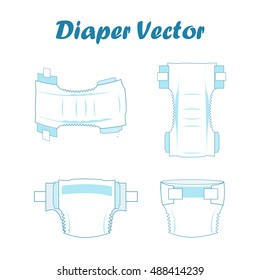 Baby absorbent diaper vector illustration