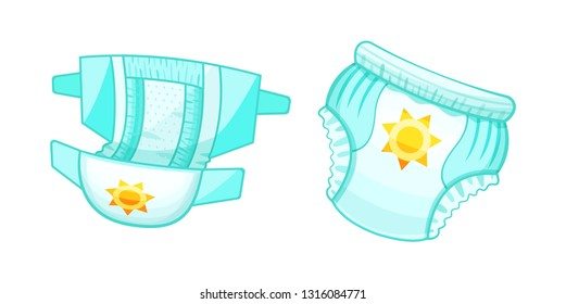 Baby absorbent diapers, kids pants. Children's antibacterial comfortable protection. Moisture resistance, ventilation, elasticity, organically materials. Diapers with indicator. Vector illustration.