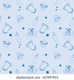 Baby accessories seamless pattern
