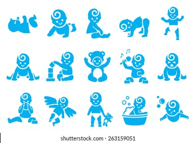 Baby activities vector illustration icon set. Included the icons as child, children actions, play, cute kids, baby step, stand and more.