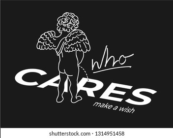 baby angel urinates over who cares slogan illustration