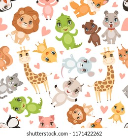 Baby animals pattern. Fabric printed seamless safari wild animals crocodile giraffe lion vector cartoon background. Illustration of lion and giraffe, crocodile and mouse