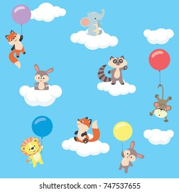 Baby animals in the sky with balloons and clouds collection