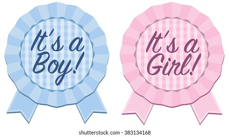Baby announcement rosette ribbon with Its a Boy or Its a Girl text in blue and pink with gingham background