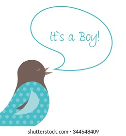 Baby Announcement with sweet Bird