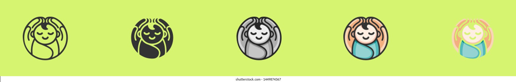 Baby in arms logo. Concept of protect child, this can also used for UI, UX, test tube baby, save child. Six icons - linear, solid, black and white, color line, multicolored. Flat vector illustration.