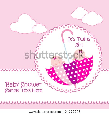 baby arrival announcement card twin baby stock vector royalty free