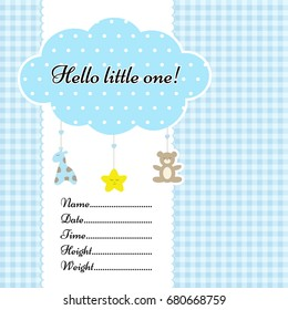 Baby arrival announcement card vector template. With birth metrics text. Nice cloud mobile with toys. Can be used as birth certificate or invitation card or poster. On blue graph ruled background.