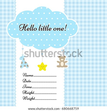 Baby Arrival Announcement Card Vector Template Stock Vector (Royalty ...