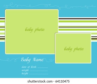 Baby Arrival blue-green Card with Photo Frames