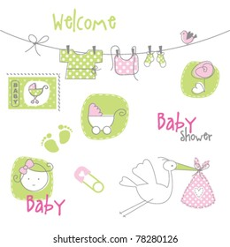 Baby arrival card - Baby shower elements