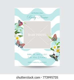 Baby Arrival Floral Card with Butterflies and Flowers. Invitation Template with Baby Photo Frame. Vector illustration