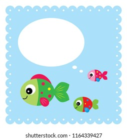 baby arrival greeting card with cute fishes graphic. cute fish message greeting card vector.