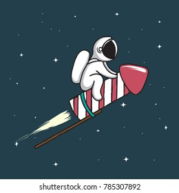 Baby astronaut flying on firework rocket to space.Childish vector illustration