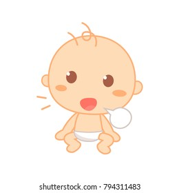 Baby Babbling. Cute baby milestone. Isolated vector.