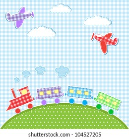 Baby background with aircrafts and train. Vector textile stickers