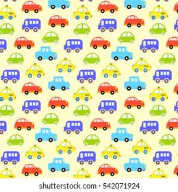 baby background boys. Vector of Transportation colorful car pattern vector illustration