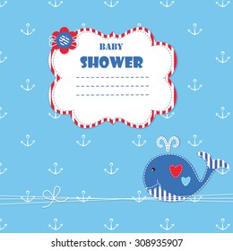 Baby background with cute whale for baby shower, invitation, greetings card