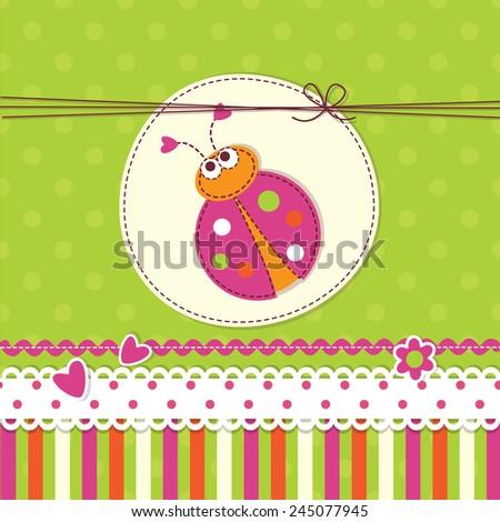 Baby Background Ladybug Invitation Baby Shower Stock Vector Royalty
