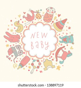 Baby background in vector. Cartoon childish card with bear, bottle, creepers, duck, baby, horse,  pyramid, rabbit, rattle, stork and others