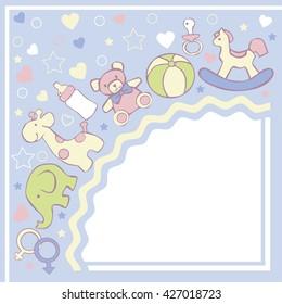 Baby background. Vector congratulation card.