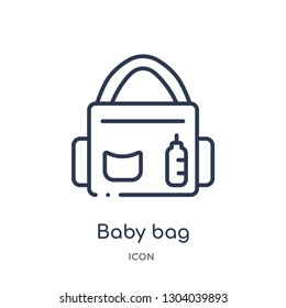 baby bag icon from travel outline collection. Thin line baby bag icon isolated on white background.