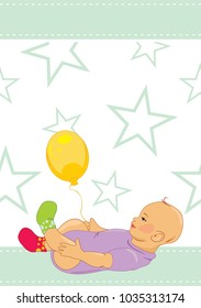 Baby with a balloon. Pattern for design. Vector