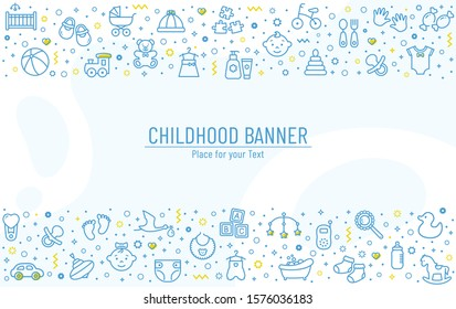 Baby banner with line icons - childrens toys, food, clothes. Newborn and kids, feeding and care themes. Vector horizontal background with outline symbols and copy space.