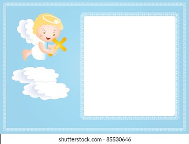 Baby baptism frame with small angel