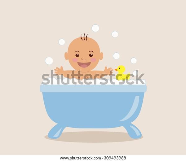 Baby bathing in the bath with foam.