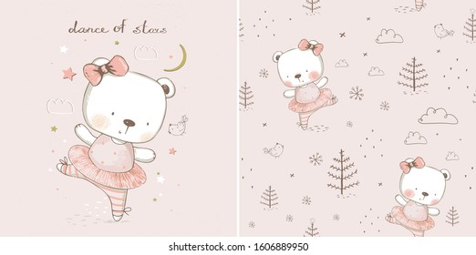 Baby bear ballerina. with seamless pattern.hand drawn vector illustration. Can be used for baby t-shirt print, fashion print design, kids wear, baby shower celebration greeting and invitation card.
