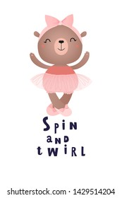 Baby bear ballet dancer. Greeting card with hand-drawn text.