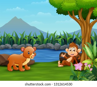 Baby bear and monkey enjoy by the river