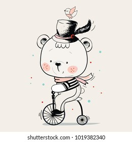 Baby Bear ridding on a bicycle. hand drawn vector illustration in vintage style. Can be used for baby t-shirt print, fashion print design, kids wear, baby shower celebration greeting / invitation card