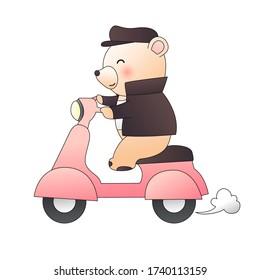 Baby bear ride pink motorcycle